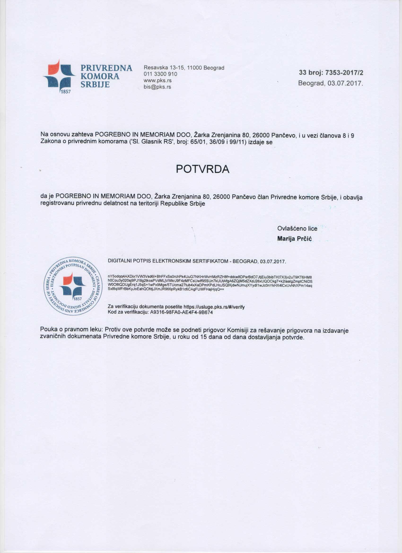 Potvrda priverdna komora Srbije - pogrebne usluge