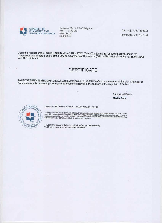 Sertifikat priverdna komora Srbije - pogrebne usluge