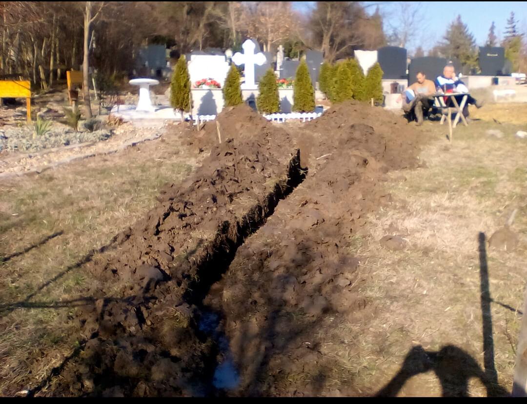 Excavation of graves